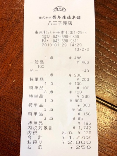 19/01/29榮太郎總本舗八王子工場売店 19