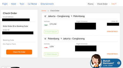 booking order