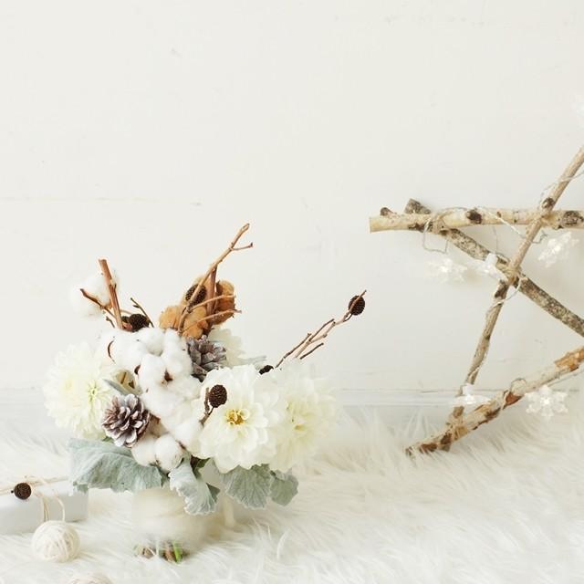 【冬の花色配色】白ベージュ茶色 クリスマス直前でも間に合う! 簡単な星形オブジェの作り方つき
