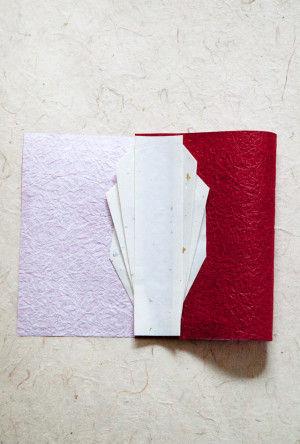 11.両面テープで懐紙と和紙を貼り合わせます