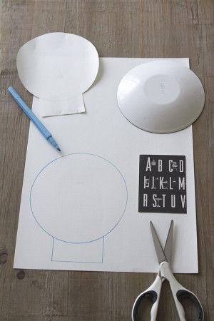 スカルは、手持ちのお皿で形をとります。 あとははがきを半分に切ったもの 紙にお皿で円を描いて、アゴの部分になる所は はがきをあてて描き写してみてね。 これでスカルの形が出来上がり。