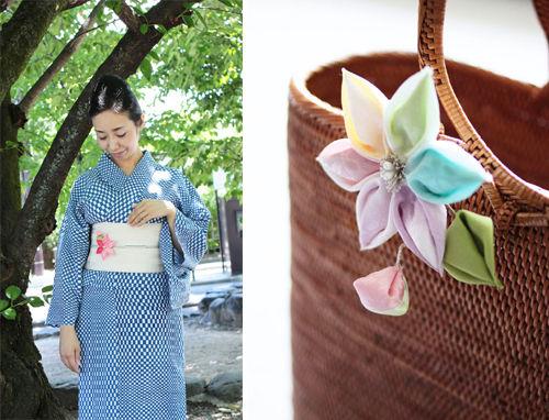 浴衣姿がいっそう華やぐ、京のつまみ細工「鉄線(クレマチス)の髪飾り」
