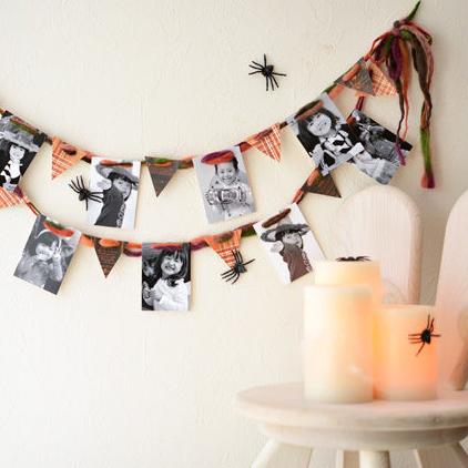 子どもの写真をおしゃれに飾ろう!  モノクロ写真のハロウィンガーランド