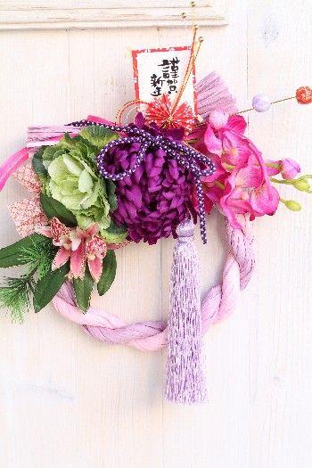 明るい年を迎えるためにカラーしめ縄飾り