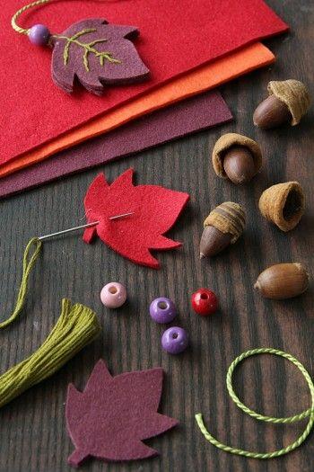 ・フェルト ・どんぐり ・紐 ・ビーズ ・刺繍糸、針