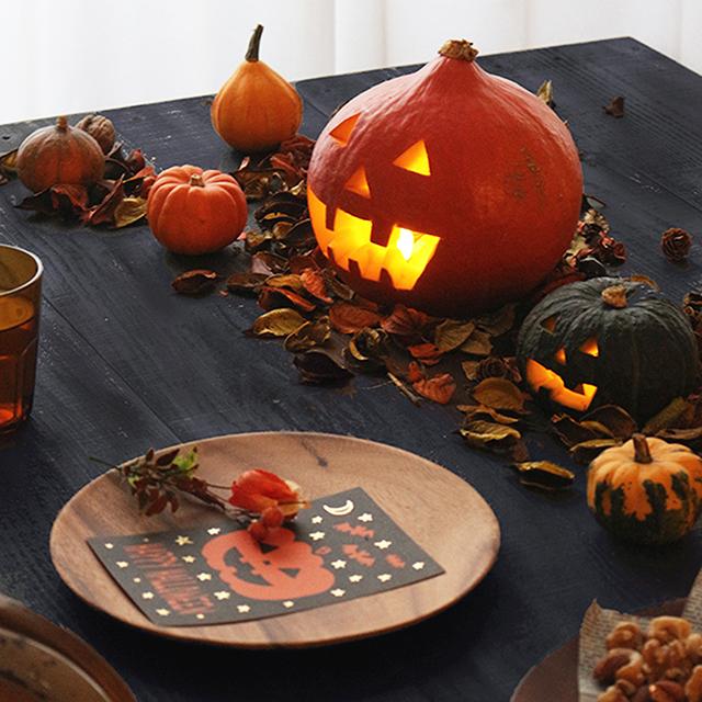 本物かぼちゃのジャックオーランタン テーブルに置くだけハロウィン演出!