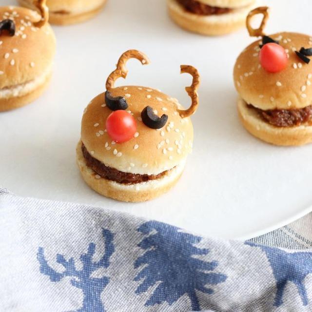 【クリスマスレシピ】食べられるトナカイさん ハンバーガー&いなり寿司