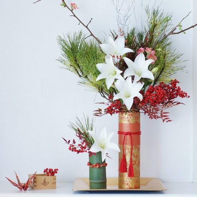 【冬の花色配色】IKEAの花器をお正月仕様に!伝統的なお正月花の飾り方