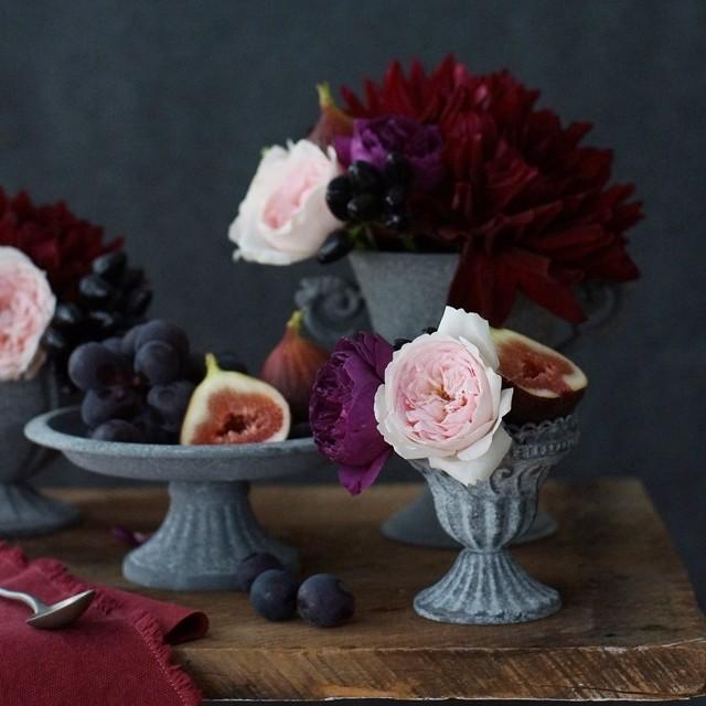 【秋の花色配色】ボルドー×ピンク フルーツの色から花選び~イチジク&ブドウ編~