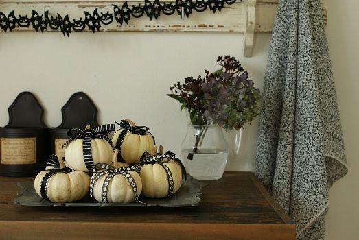 白ミニかぼちゃの可愛い飾り方