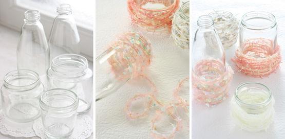 ガラス瓶をかわいい毛糸でドレスアップ