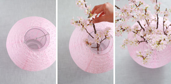 100円紙提灯を使って桜を活ける