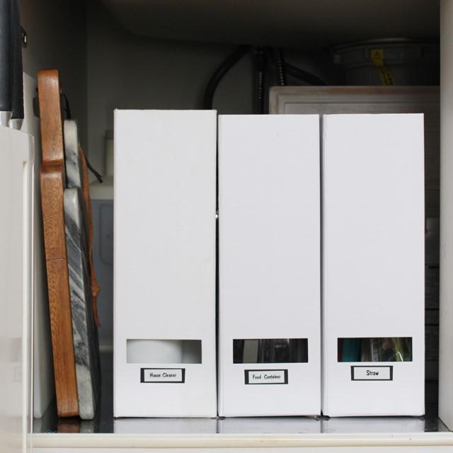 ファイルボックス収納に紙製がオススメな理由  キッチンシンク下収納術 後編