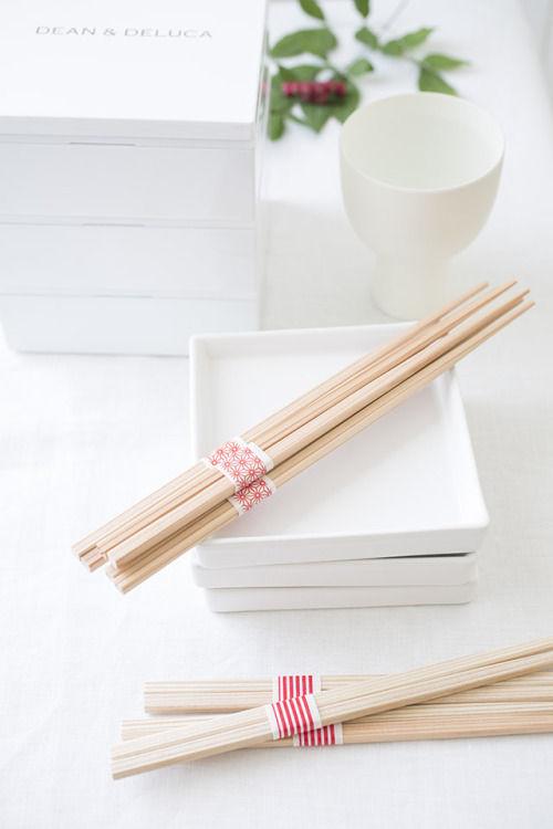 MUJIの角箸とマスキングテープで、祝い箸