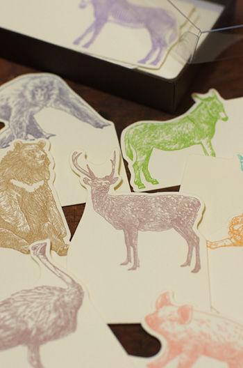 お礼状に、栞に。大人色の動物カード