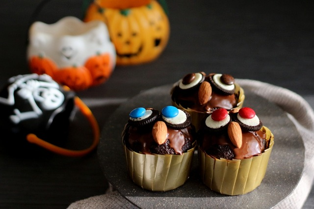 ハロウィーン フクロウ カップケーキ 作り方 レシピ