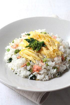 菜の花と鮭アラで簡単ちらし寿司