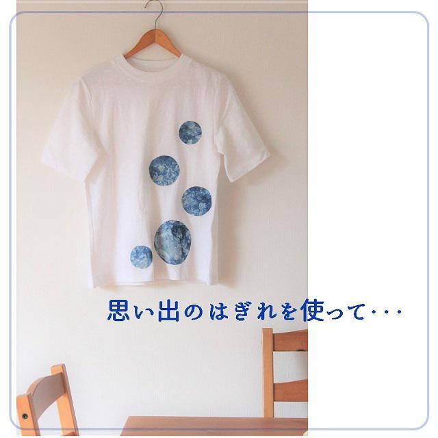 簡単リメイク♪ 藍染めのはぎれで作る水玉Tシャツ