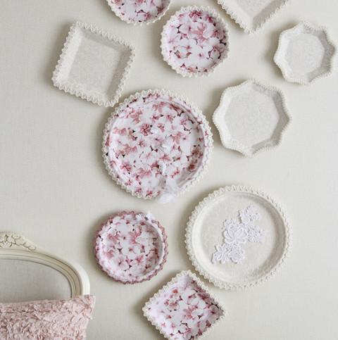 紙皿で作るスプリング・ウォールデコ~お気に入りのナプキンで簡単カルトナージュ