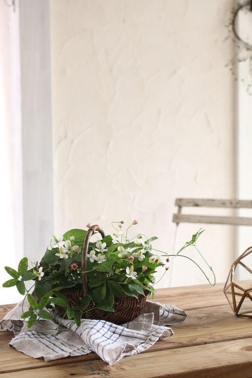 ドクダミと庭花&草花でナチュラルアレンジ