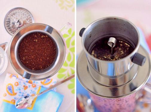 IKEAの花柄ガラスマグカップでベトナム式コーヒー
