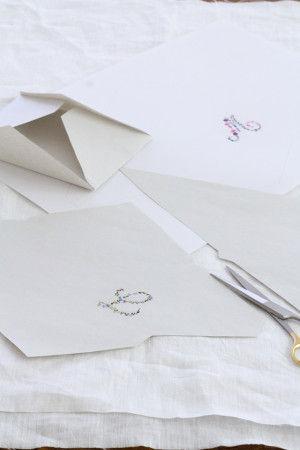 原版の図案を縮小コピーして、 その紙を封筒の形に切り抜き組み立てます。 市販の封筒の糊を一度はがして展開し、 型紙にするのが簡単です。
