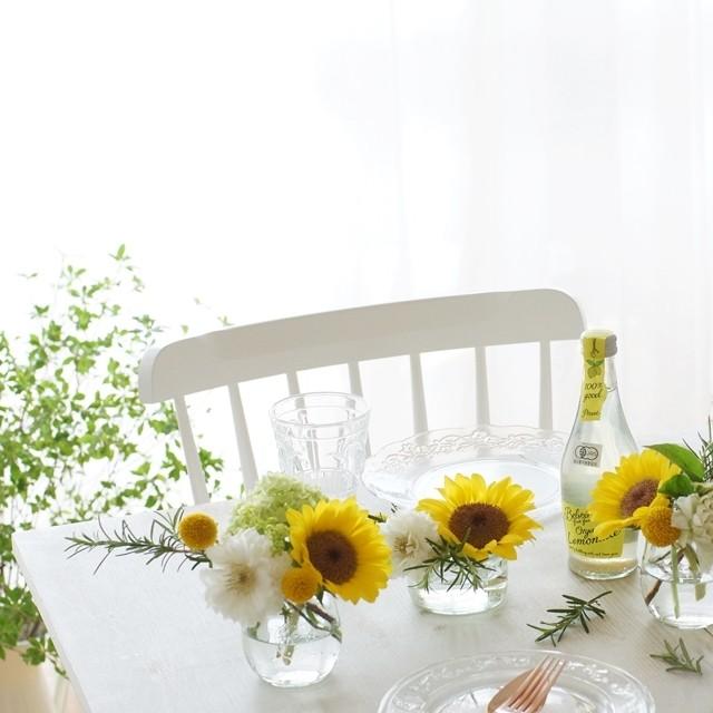 【夏の花色配色】黄色、白&ライムグリーン Weckのガラス食器を使って!花活けのアイディア