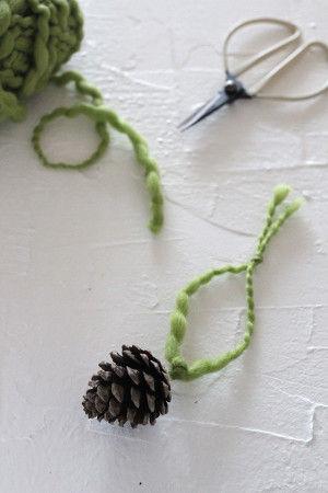 4.ボンドが乾いたら、針金の輪に毛糸を通して完成♪