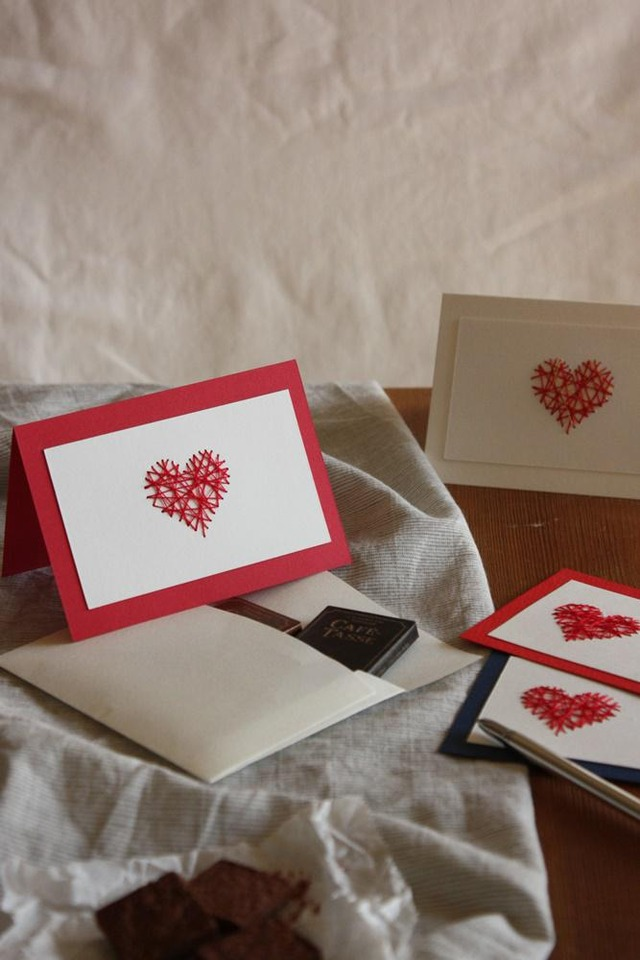 バレンタイン メッセージ カード 刺繍 ハート 簡単 作り方