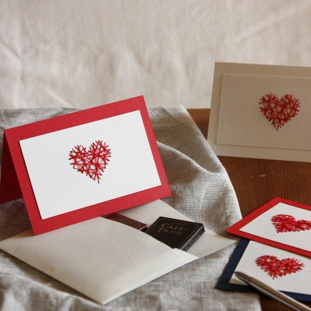 簡単バレンタインカード♪ 紙刺繍でハートを作る方法