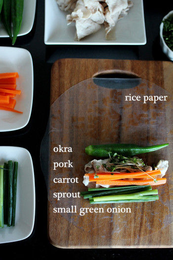 レシピ1(生春巻き3個分) 疲労回復にオススメ☆ ねばねばオクラと豚しゃぶの生春巻き ・ライスペーパー ・オクラ ・豚しゃぶ ・ニンジン ・ブロッコリースプラウト ・小ネギ
