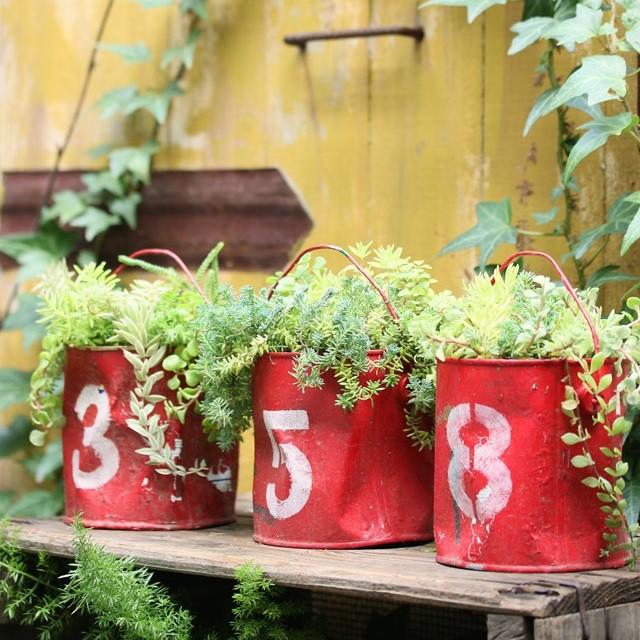 塗料の空き缶をペイントして、ジャンクな植木鉢(プランター)に