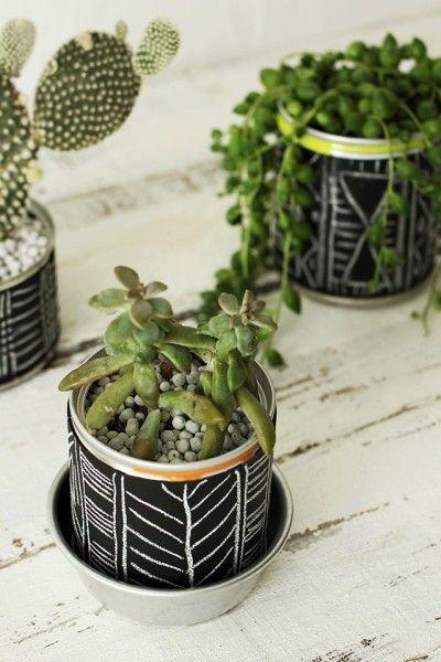 ※缶に直接植物を植える場合は、根腐れ防止に  底に水抜き用の穴をあけておきましょう。  お皿やカップなどの水受け皿をお忘れなく!