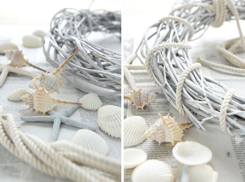 貝殻を貼るだけ。簡単手づくり夏リース
