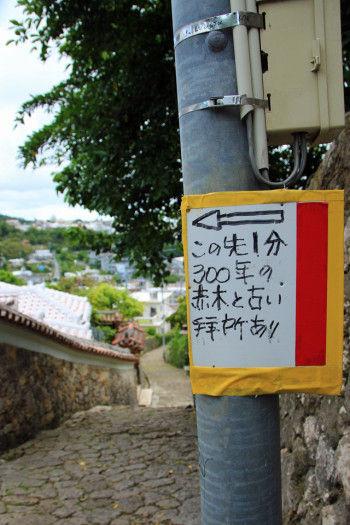 電信柱に手書きの看板。 「この先1分 300年の赤木と 古い拝所あり」 行ってみます。