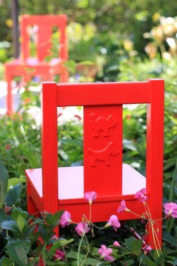 ガーデンで使うIKEAのチャイルドチェアー