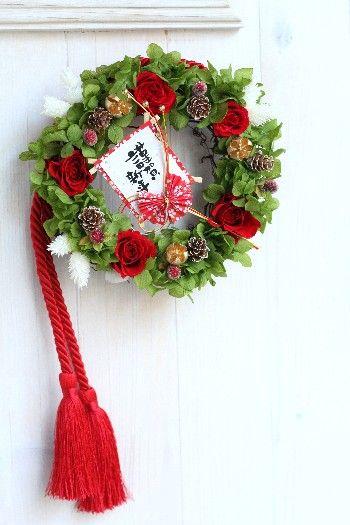 クリスマスリースをお正月飾りへチェンジ