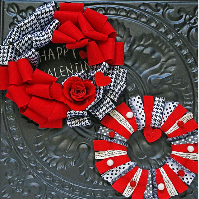 赤&黒&白がおしゃれな♪ バレンタインリースの作り方 2種