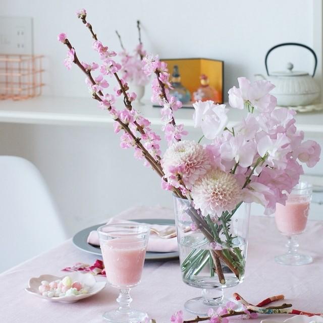 【春の花色配色】ピンク濃淡 ひな祭りの花!大人っぽくセンスよく活けるコツ