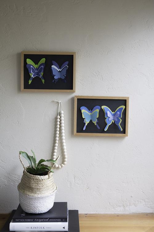 夏休みの宿題にどう? MUJIのフレームで、なんちゃって蝶の標本♪