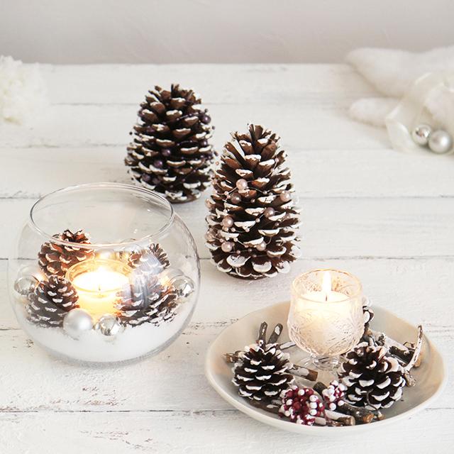 ホワイトクリスマスを演出♪ 簡単 松ぼっくりツリーの作り方