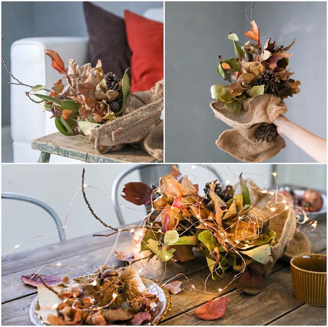 激安DIY♪ 100均アイテムと拾った落ち葉で作るドライフラワー飾り♪
