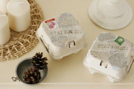 卵の紙パック+コラージュで小物入れ