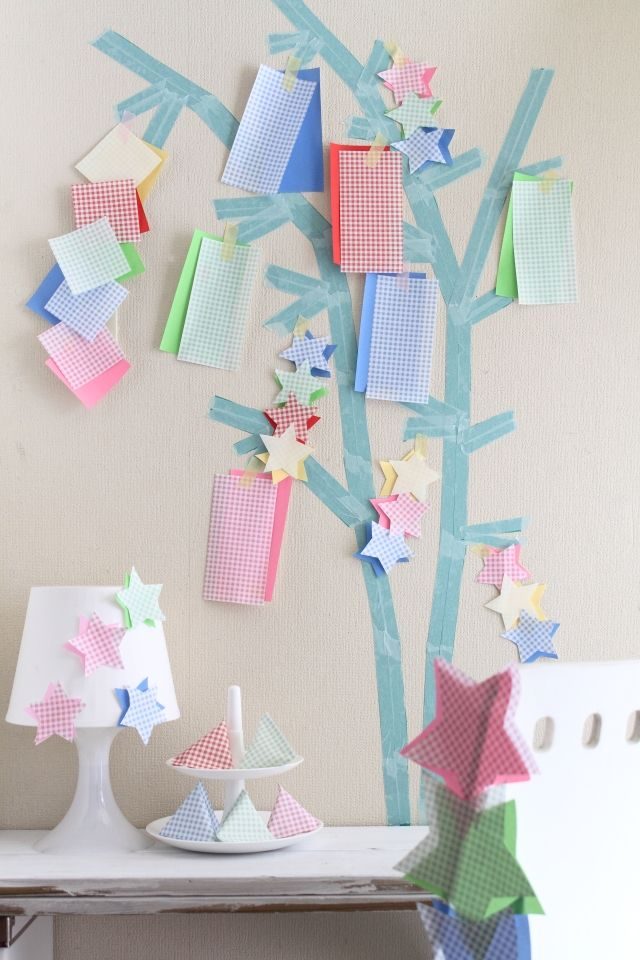 笹がなくてもOK! マスキングテープと折り紙で七夕飾り☆