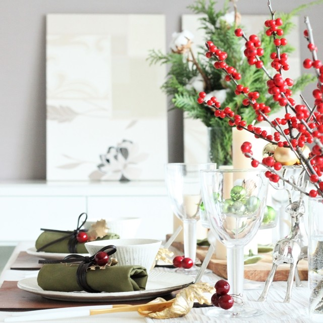 クリスマスのテーブルコーディネート♪ テッパン4色を取り入れて