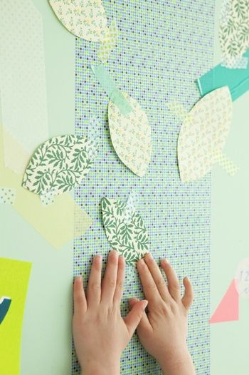簡単な形なので、 子どもたちがかなり楽しんで、 葉っぱを切ってくれました。 これを普通のマスキングテープでペタペタ貼れば、 とっても簡単に、可愛く変身。