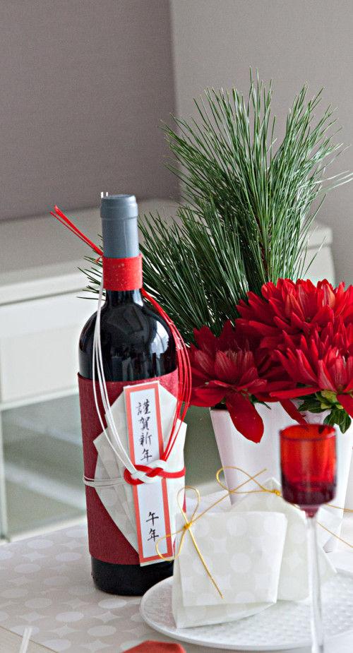 新春の和モダンなテーブルに~ワインを和風に飾る和紙飾り