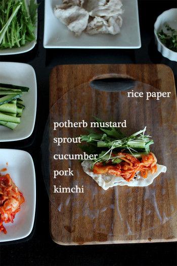 レシピ3(生春巻き3個分) 食欲増進や熱中症予防にも☆ キムチと豚しゃぶの生春巻き ・ライスペーパー ・水菜 ・ブロッコリースプラウト ・キュウリ ・豚しゃぶ ・キムチ
