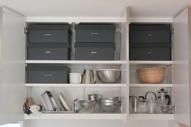 キッチン収納のアイディアを紹介した記事では、箱を使った整理法を提案。