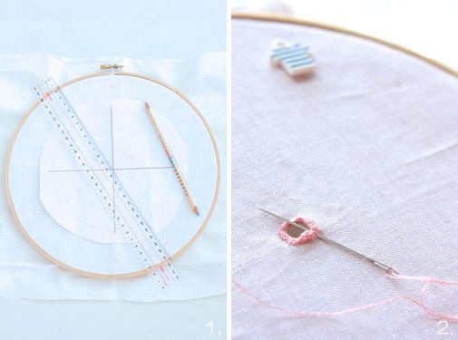刺繍枠を使ってマリンな時計を手づくり